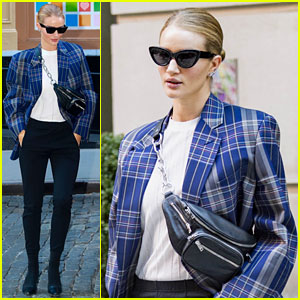 Rosie Huntington-Whiteley Goes Business Chic in Blue Plaid Blazer