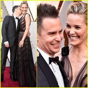 Sam Rockwell Kisses Girlfriend Leslie Bibb on Oscars 2018 Red Carpet