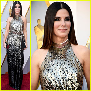 Sandra Bullock is a Beauty in Black & Gold at Oscars 2018