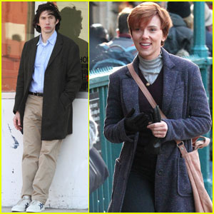 Scarlett Johansson Shows Off Brunette Locks While Filming With Adam Driver