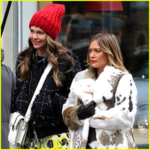 Hilary Duff Wraps Up in Fur Coat on 'Younger' Set with Sutton Foster