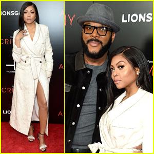 Taraji P. Henson Goes Sexy in White Trench Coat for 'Acrimony' Premiere