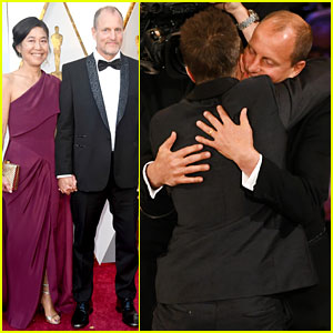 Woody Harrelson Shares a Hug With Best Supporting Actor Winner Sam Rockwell at Oscars 2018