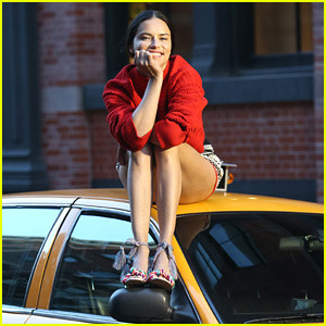 Adriana Lima Poses on Top of Taxi During NYC Photo Shoot!