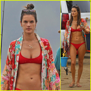 Alessandra Ambrosio Looks Hot in a Red Bikini While Vacationing in Hawaii!