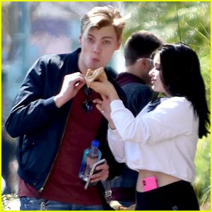 Ariel Winter Sweetly Feeds Levi Meaden a Bite of Her Food