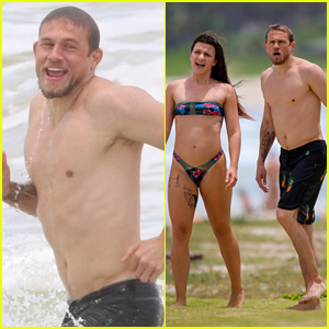 Charlie Hunnam Puts His Hot Shirtless Body on Display at Beach with Mystery Woman
