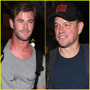 Chris Hemsworth & Matt Damon Catch a Flight Together Out of LAX!