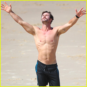 Chris Hemsworth Puts His Ripped Shirtless Body on Display as He Soaks Up the Sunshine!