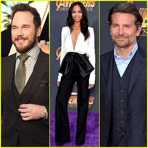 Chris Pratt, Zoe Saldana, & Bradley Cooper Bring 'Guardians' to 'Avengers: Infinity War' Premiere