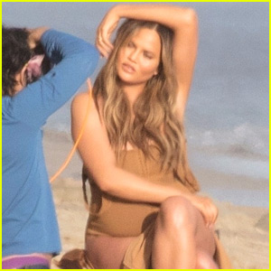 Chrissy Teigen Bares Baby Bump During Beach Photo Shoot!
