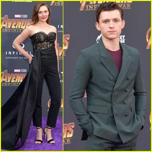 Tom Holland & Elizabeth Olsen Step Out at 'Avengers: Infinity War' Premiere