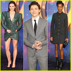 Elizabeth Olsen, Tom Holland, & Letitia Wright Attend 'Avengers' UK Fan Event
