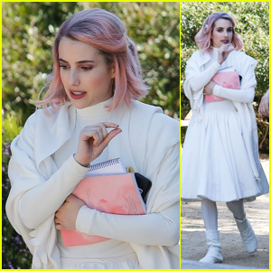 Emma Roberts Rocks Pink Hair on the Set of New Movie 'Paradise Hills'!
