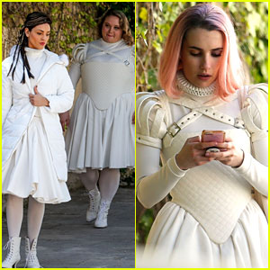 Pink-Haired Emma Roberts Films in Matching Outfits with Eiza Gonzalez & Danielle Macdonald