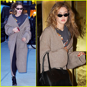 Gigi Hadid Rocks Brown Maxi Cardigan After NYC Photo Shoot
