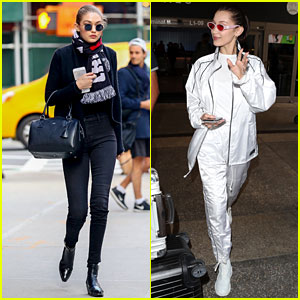 Gigi Hadid Steps Out in NYC While Bella Hadid Lands in LA