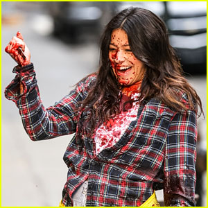 Gina Rodriguez Gets Covered in Blood on 'Someone Great' Set!