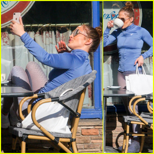 Jennifer Lopez Takes Selfies & Enjoys Lunch in the Sun With a Friend in West Hollywood!