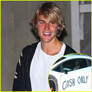 Justin Bieber Heads Out From Church With 'Cash Only' Spray Painted on His Car!
