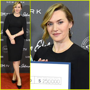 Kate Winslet Accepts Check on Behalf of Golden Hat Foundation at Longines Masters
