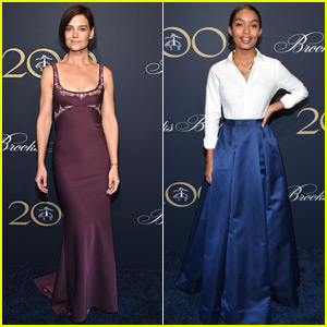 Katie Holmes & Yara Shahidi Go Glam for Brooks Brothers Event