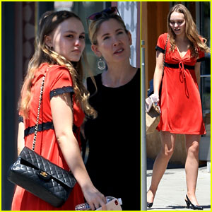 Lily-Rose Depp Rocks Red Baby Doll Dress While Out to Lunch