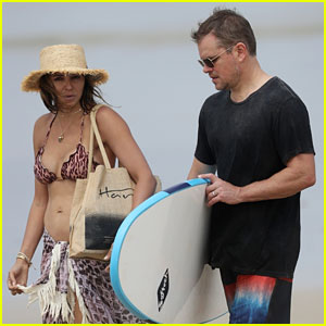 Matt Damon Relaxes at the Beach with Wife Luciana