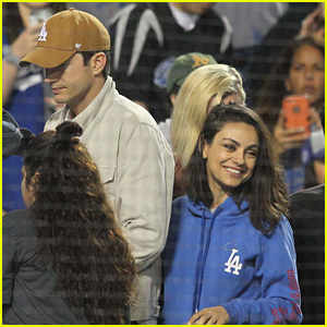 Mila Kunis & Ashton Kutcher Have a Date at the Dodgers Game!