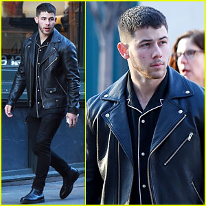 Nick Jonas Keeps It Way Too Cool in Black Leather Look