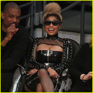 Nicki Minaj Sports Bold Studded Leather Look at Lakers Game