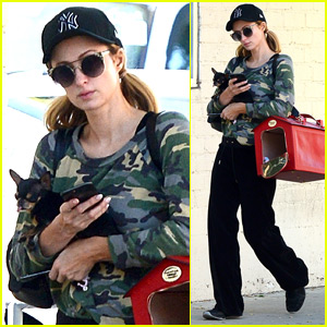 Paris Hilton is Joined at Nail Salon by Pup Diamond!