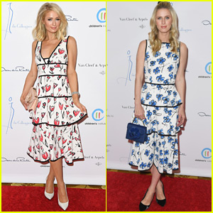 Paris Hilton & Little Sis Nicky Go Pretty in Florals for Oscar de la Renta Luncehon