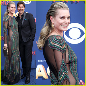 Rebecca Romijn Wears Partially Sheer Dress at ACM Awards with Husband Jerry O'Connell