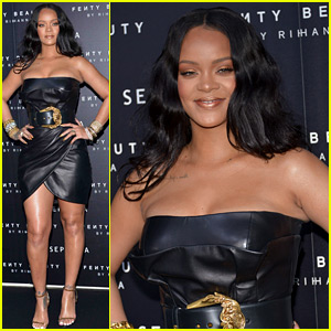 Rihanna Celebrates Fenty Beauty Launch in a Leather Dress!