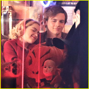 Kiernan Shipka & Ross Lynch Share A Kiss For 'Chilling Adventures of Sabrina'
