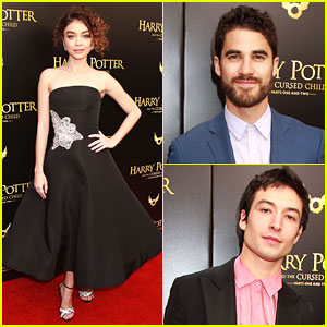 Sarah Hyland, Darren Criss, & Ezra Miller Attend 'Harry Potter & The Cursed Child' Broadway Opening
