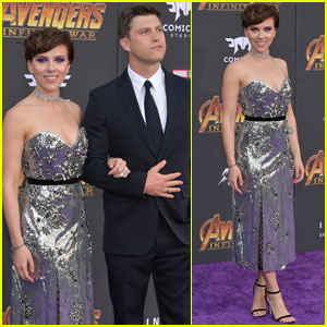 Scarlett Johansson & Colin Jost Make Red Carpet Debut at 'Avengers: Infinity War' Premiere