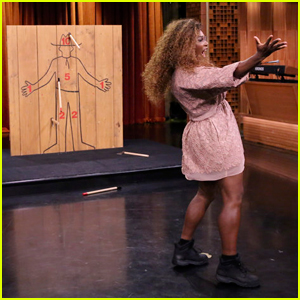 Serena Williams Faces Off Against Jimmy Fallon in Axe-Throwing Contest!