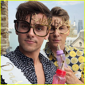 Tom Daley & Dustin Lance Black Celebrate Baby Shower in London!