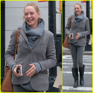Uma Thurman Is All Smiles on a Stroll in New York City!