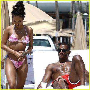 Victor Cruz & Girlfriend Karrueche Tran Bare Beach Bodies in Miami!