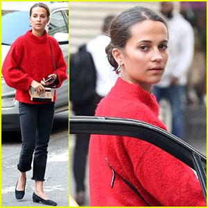 Alicia Vikander Rocks Red Sweater While Grabbing Lunch in NYC