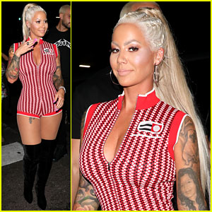 Amber Rose Shows Off Her Long Blonde Hair & Curves at the Club