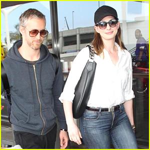 Anne Hathaway & Husband Adam Shulman Land at LAX Airport