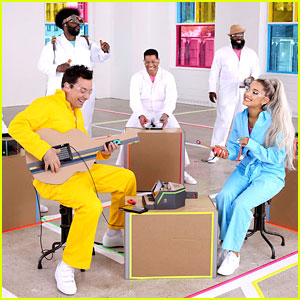 Ariana Grande & Jimmy Fallon Perform 'No Tears Left to Cry' With Cardboard Instruments (Video)