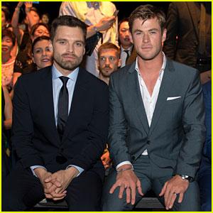 Chris Hemsworth & Sebastian Stan Sit Front Row at Boss Fashion Show in Singapore