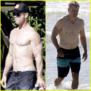 Chris Hemsworth & Matt Damon Go Shirtless at the Beach