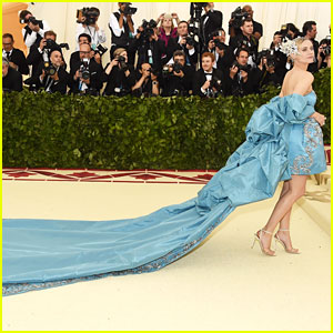 Diane Kruger Stuns in Blue Gown With Long Train at Met Gala 2018