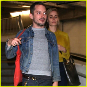 Elijah Wood Goes to the Movies with Girlfriend Mette-Marie ...